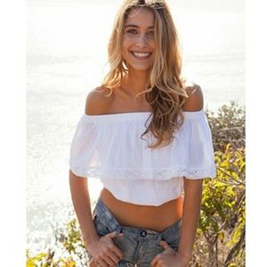 Tops - White Cotton Off Shoulder Top